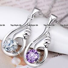 925 Sterling Silver Angel Wings Necklace Pendant Chain Jewelry Birthday Gift  3