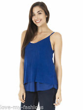New Womens Two Layered Scoop Neck Strappy Jersey Style Vest Top One Size