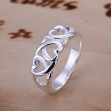 925 Solid Silver Filled Ring Women's Elegant Fashion Jewelry Xmas Gift Size 7 8