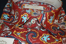Psychedelic Long Sleeve Mens Paisley Shirt Slim Fit Red Blue Yellow Size XL