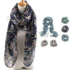 Infinity Scarf Women's Voile Scarves Owl Printed Long Soft Silk Wrap Shawl Stole