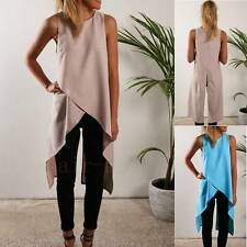 Ladies Fashion Casual Sleeveless Vest Summer Tops Shirt Dress Hem Long Blouse