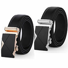 Men Automatic Alloy Buckle Black Genuine Leather Waist Strap Belts Waistband Hot