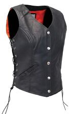 New Womens Ladies Real Leather Motorcycle/Biker Waistcoat/Vest- Sides Laced Up