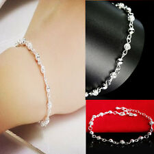 Women Silver Plated Crystal Chain Bangle Cuff Charm Bracelet Jewelry CHI