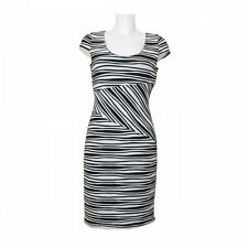 Frank Lyman Designer Black & White Zebra Stripe Ruffle Short Sleeve Midi Dress