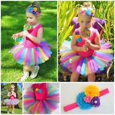 RAINBOW TUTU SKIRT SINGLET HEADBAND RAINBOW PARTY COSTUME CAKE SMASH PHOTO SHOOT