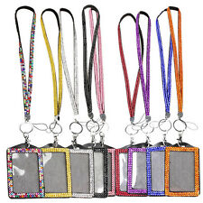 Rhinestone Bling Crystal Neck Lanyard Strap + Vertical ID Name Badge Holder
