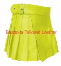 Leather Kilt  in  Real Leather in  YELLOW  BKLN002