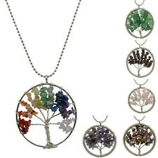 Fashion Silver Wire Wrap Tree Of Life Gemstone Beads Pendant Chain Necklace