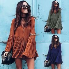 New Women Lady Sexy V Neck Long Sleeve Long Blouse Loose Top Pleated Mini Dress