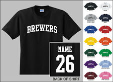 Brewers College Letters Custom Name & Number Personalized Baseball T-shirt