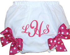 Personalized Hot Pink Monogram & Bows Baby Girl Diaper Cover Bloomer Free Ship