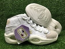 New Mens Reebok Question Mid Quilted White Party Iverson White Chalk Gold AR1710