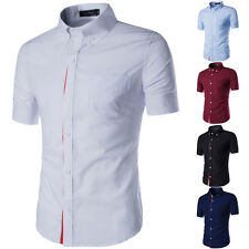 Fashion Mens Luxury Button Front Slim Fit T-Shirts Short Sleeve Dress Shirts New