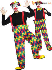 Adults Hooped Clown Costume Mens Ladies Circus Fancy Dress Hen Stag Party Outfit