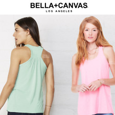 BELLA LADIES FLOWY RACERBACK TANK TOP VEST SUMMER DRAPEY LOOSE FIT NEON COLOURS