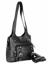 Leather Concealed Carry Gun Purse Concealment Bag w Locking Zipper CCW CWP