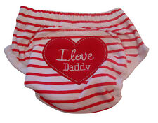 1pc I Love Daddy Baby Toddler Potty Toilet Training Pant New Reusable Red Stripe