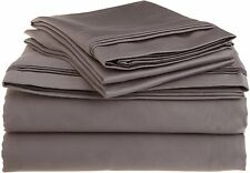 Comfort bedding 1000 TC 100% Egyptian Cotton Bed Sheet Set Dark Grey Solid