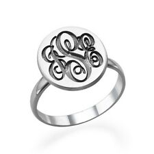 Monogram Ring Signet Style in Sterling Silver