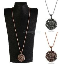 Fashion Necklace Rose Gold/Silver Long Chain Sweater Flower Ball Pendant Jewelry