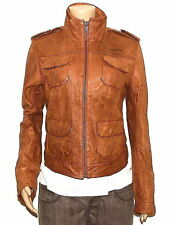 RRP £275 GENUINE WOMENS SUPERDRY SKINNY TAN BROWN REAL LEATHER JACKET 14-16