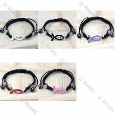 Muilt-color Awareness Ribbon Crystal Pove Macrame Woven Bead Adjustable Bracelet