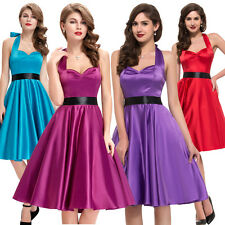 NEW Ladies Vintage Style Dress Retro Halter Swing 50s Housewife Pinup Party Prom