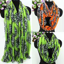 Fashion Women's Skull&Dragonfly Print Viscose Long/Infinity Scarf Ladies Scarves