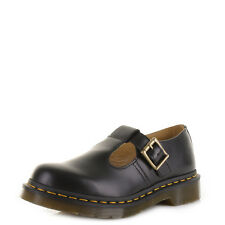 Womens Dr Martens Polley Black Smooth T Bar Leather School Work Dm Shoes Sz Size