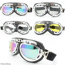 WWII Style German Motorcycle Chopper Biker Pilot Goggles Glasses Sunglasses 40's