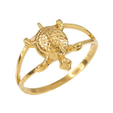 14k Yellow Gold Dainty Lucky Hawaiian Honu Turtle Charm Ring