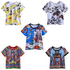Kids Cool Boys T-shirt Children Short Sleeved Flower Top Tee Summer Clothes 2-9Y