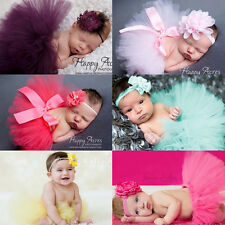 Newborn Headdress Flower + Tutu Dress Clothes Skirt Baby Girl Photo Prop Outfits