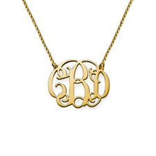 New Monogram Necklace 18K Gold Plating over 925 Sterling Silver,Fashion Jewelry
