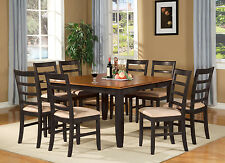 PARF9-BLK 9 Piece Dining Table Set-Square dining table with Leaf and 8 chairs