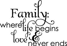 Family where life begins Love Decor vinyl wall decal quote sticker Inspiration