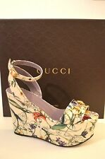 $750 GUCCI SHOES MINI INFINITY FLORA LEATHER HORSEBIT DETAIL WEDGE