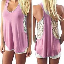 Fashion Women Tank Top Blouse Lace Sleeveless Vest T-Shirt Loose Casual Top Cami