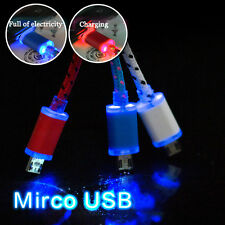 Braided Fabric LED Light Micro USB Data Sync Charger Cable For Mobile Phone Lot