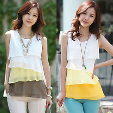 Women Chiffon Shirt Sleveless Tops Blouse Pullover Multilayer Vest New Fashion