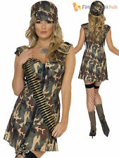 Ladies Fever Army Girl Costume Adult Combat Solider Fancy Dress Camo Military