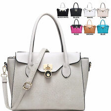 Ladies Designer Faux Leather Padlock Handbag Shoulder Bag Tote Bag MA34357