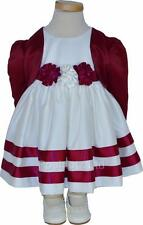 Girls Cream and Wine Bolero Dress Set Bridesmaids Wedding 0-3 Months - 4-5 Years