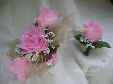 Pink*Silk*Roses*Champagne*Wrist*Pin*Corsage*Boutonniere*Wedding*Prom*Groom