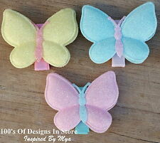 Baby Toddler Girls Hair Clip Large Glitter Butterfly Sparkle Mint Pink Yellow