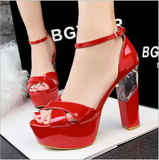 Lady Open Toe Wet Look Strappy Platform Transparent Block High Heel Shoes L276