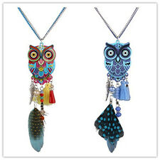 Chic Vintage Multi-color Fashion Feather Tassels Resin Cute Owl NecklacesPendant