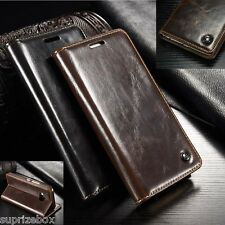 DESIGNER GENUINE LEATHER RETRO WALLET STAND CARD CASE COVER FOR SONY XPERIA Z3